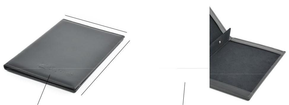 Carpeta para restaurantes y hoteles, elaborada en piel natural o polipiel, fabricada en España (Made in Spain) con personalización corporativa mediante la técnica de termograbado