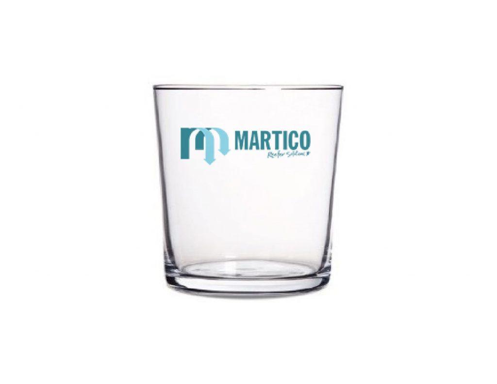 Vaso corporativo de cristal templado apto para la personalización de una imagen corporativa tanto para gadgets corporativos como para regalos de empresa